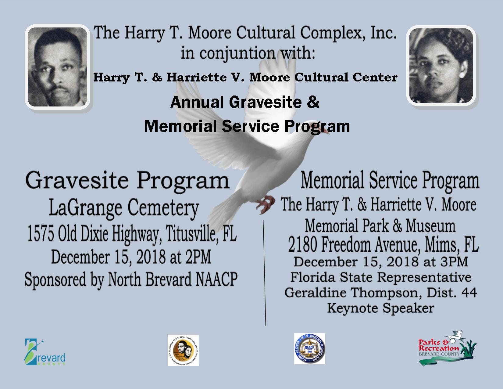 Harry T. & Harriette V. Moore Annual Gravesite & Memorial Service Program